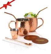 Luxe Moscow Mule Beker Set – Cocktail set - Inclusief 2 Heerlijke Mule Recepten - Luxe Cadeau Man Vrouw - 500ml – Qwality