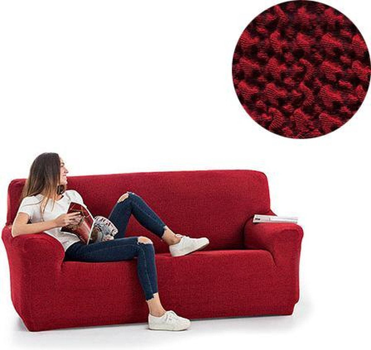 Milos meubelhoezen - Bankhoes 130-180cm - Rood - Verkrijgbaar in verschillende kleuren!