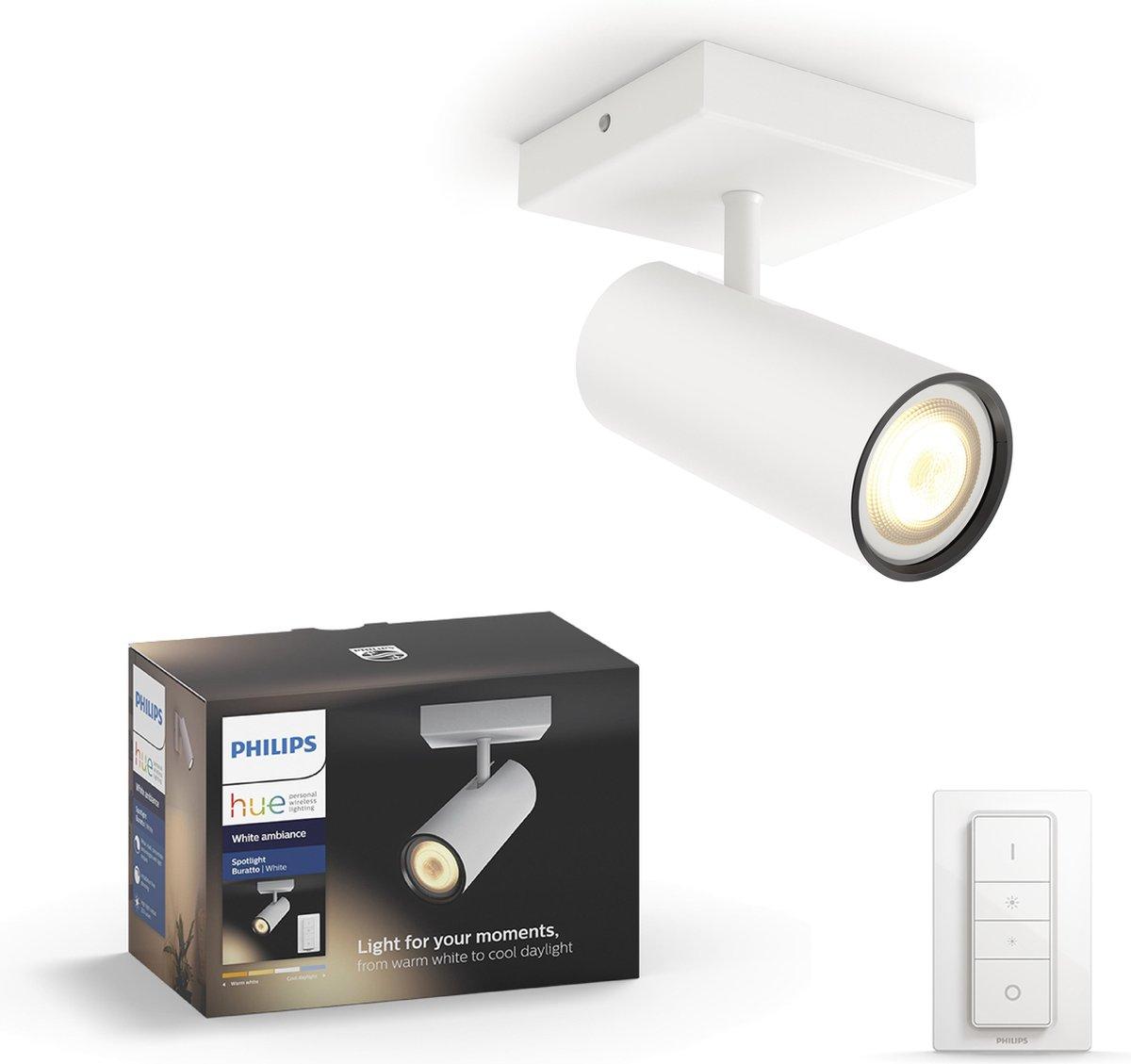 Philips Hue Buratto opbouwspot - warm tot koelwit licht - 1-lichts - wit - basis