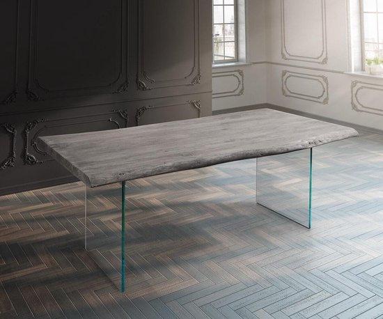 Massief houten tafel Live-Edge acacia Platinum 200x100 boven 5,5 cm glazen poten boomtafel