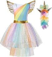 Eenhoorn jurk unicorn jurk eenhoorn kostuum - 116-122 (M) prinsessen jurk verkleedjurk regenboog + haarband