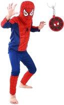 Spiderman pak  Spinnenheld kostuum spider superheld verkleed pak super man 116-122 (M) + GRATIS tas/sleutel hanger verkleedkleding