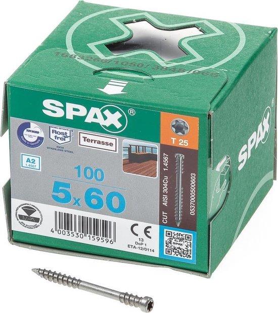 Spax Vlonderschroef RVS T-Star T25 5.0 x 60mm