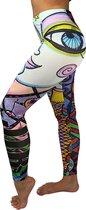 JTBSTORE  Limited Edition Highwaist dames sportlegging maat L, met unieke fantasie print. Deze fitnesslegging is zeer geschikt als yogalegging of als pilatesoutfit. De hoge taille is prima voor Squats.
