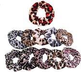 Evvie set van 11 scrunchie haarelastiekjes – velvet animal