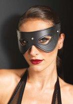 Zwart kunstleren masker met studs