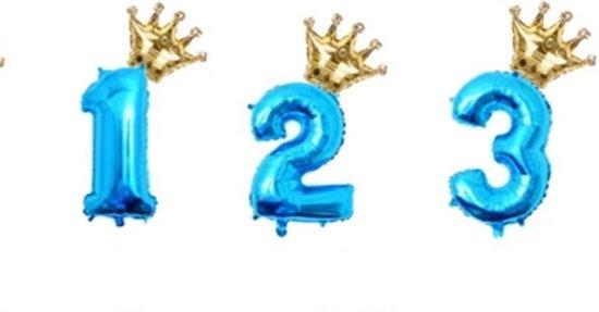 Folie ballon cijfer 2 blauw met gouden kroon