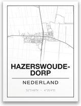 Poster/plattegrond HAZERSWOUDE-DORP - 30x40cm
