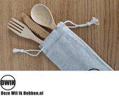 Set Bamboe Bestek in Mooi Hoesje   Vork Lepel Mes