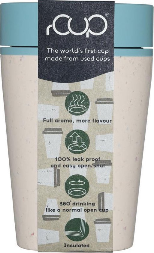 rCUP herbruikbare to go beker van gerecyclede koffiebekers crème/blauw 8oz/227ml