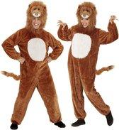 Leeuw & Tijger & Luipaard & Panter Kostuum | Bruine Dieren Pluche Leeuw Jumpsuit Kostuum | Medium / Large | Carnaval kostuum | Verkleedkleding