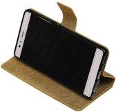 Wicked Narwal | Cross Pattern TPU bookstyle / book case/ wallet case voor Huawei P9 Goud