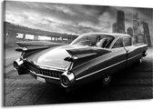 Schilderij | Canvas Schilderij Auto, Oldtimer | Zwart, Grijs | 140x90cm 1Luik | Foto print op Canvas