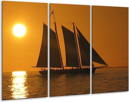 Canvas schilderij Boot   Geel, Bruin, Oranje   120x80cm 3Luik