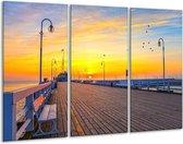 Canvas schilderij Vakantie | Geel, Blauw, Oranje | 120x80cm 3Luik