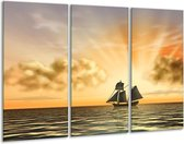 Canvas schilderij Boot   Geel, Bruin, Grijs   120x80cm 3Luik