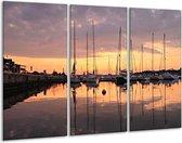 Canvas schilderij Boot   Geel, Zwart, Grijs   120x80cm 3Luik