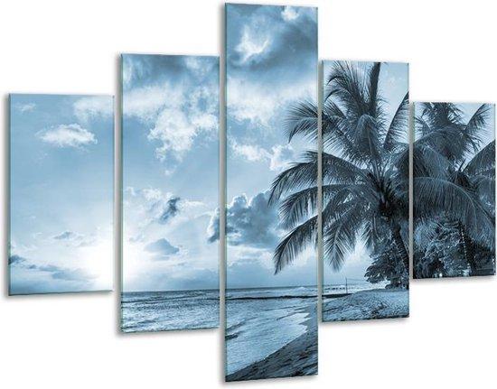 Glas schilderij Zee, Strand | Blauw, Grijs | 100x70cm 5Luik | Foto print op Glas |  F006557