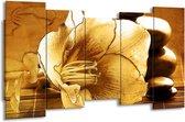 Canvas schilderij Bloem   Bruin   150x80cm 5Luik