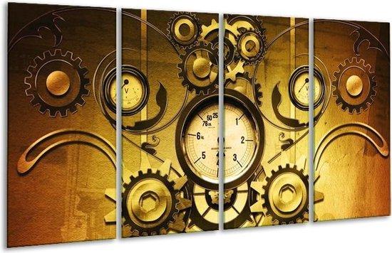 Glasschilderij Klok | Geel, Bruin, Zwart | 160x80cm 4Luik | Foto print op Glas |  F004158