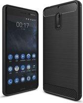Nokia 6 Geborsteld TPU Hoesje Zwart