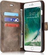 Apple iPhone 7 Plus / 8 Plus Portemonnee Hoesje Echt Leer Bruin