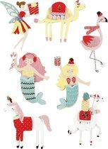 3D stickers, h: 50-60 mm, b: 30-45 mm, flamingo, lama zeemeermin, 7stuks, dikte 7 mm [HOB-27695]