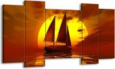 Canvas schilderij Zeilboot | Geel, Rood, Bruin | 120x65 5Luik