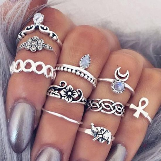 Ibiza boho bohemien stijl ringen set 10 stuks - Dames - Zilverkleurig