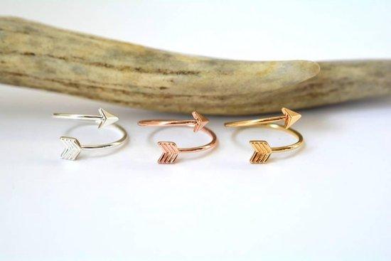 Pijl Ring arrow boho bohemian style verstelbaar  - Dames - Zilverkleurig
