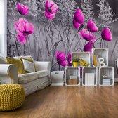 Fotobehang Purple Poppies Black And White | VEXXXL - 416cm x 254cm | 130gr/m2 Vlies