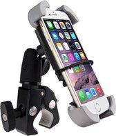 GSM Fietshouder voor iPhone, Samsung, Huawei, Sony – Universeel, Grijs & met 4 stevige hoekklemmen en extra verstelstuk