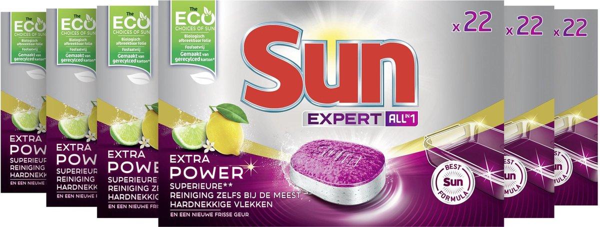 Sun All-In-1 Extra Power Lemon Vaatwastabletten - 6 x 22 tabletten - Voordeelverpakking