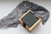Leisteen Onderzetters voor glazen – Incl. Coating - Zwart Steen – Glasonderzetter - Waterbestendig – Acacia Hout Houder – Gesleten steenvorm – 8 stuks – TPU Rubber