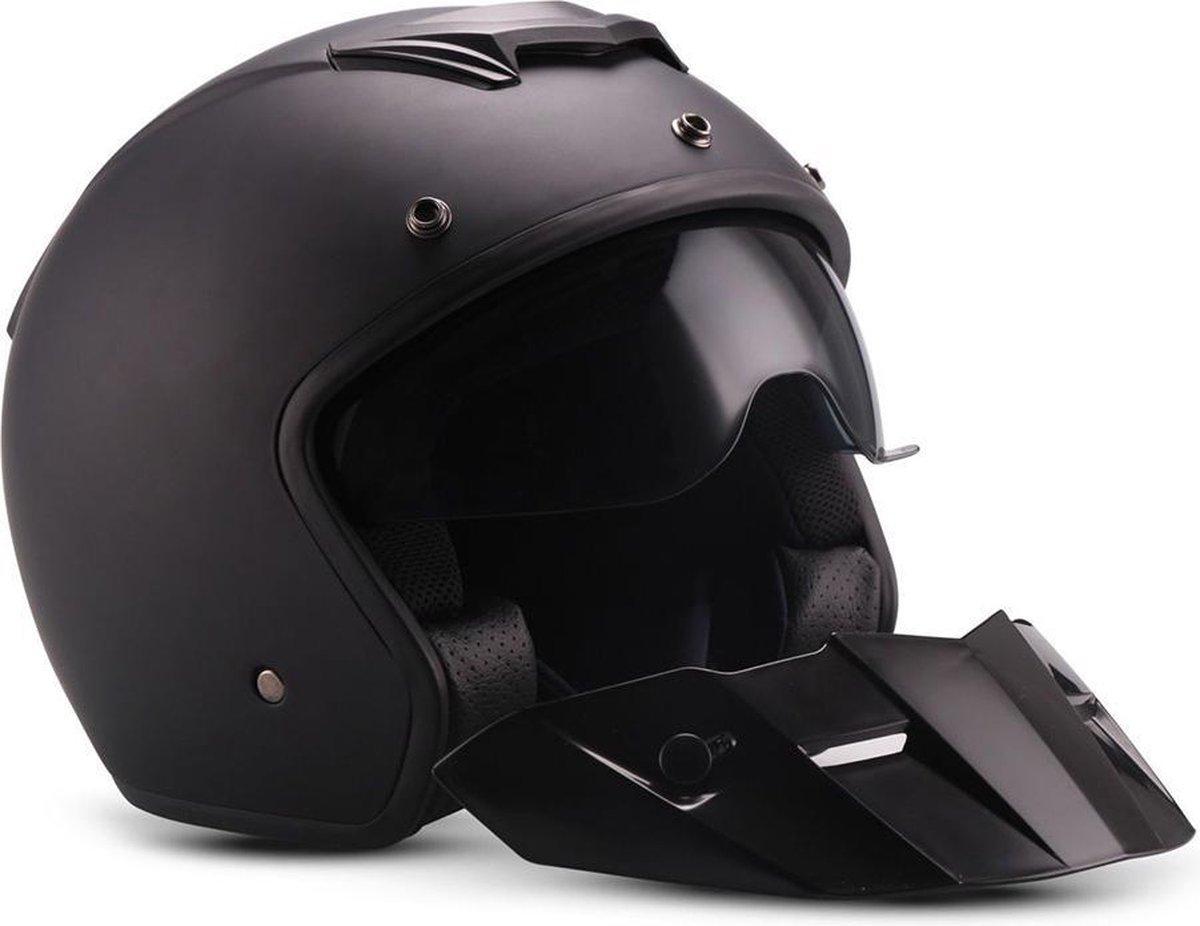Moto S78 Mat Black Jethelm politie helm voor scooter of motor met zonneklep L Large hoofdomtrek 59 /