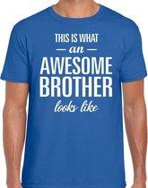Awesome Brother tekst t-shirt blauw heren - heren fun tekst shirt blauw 2XL