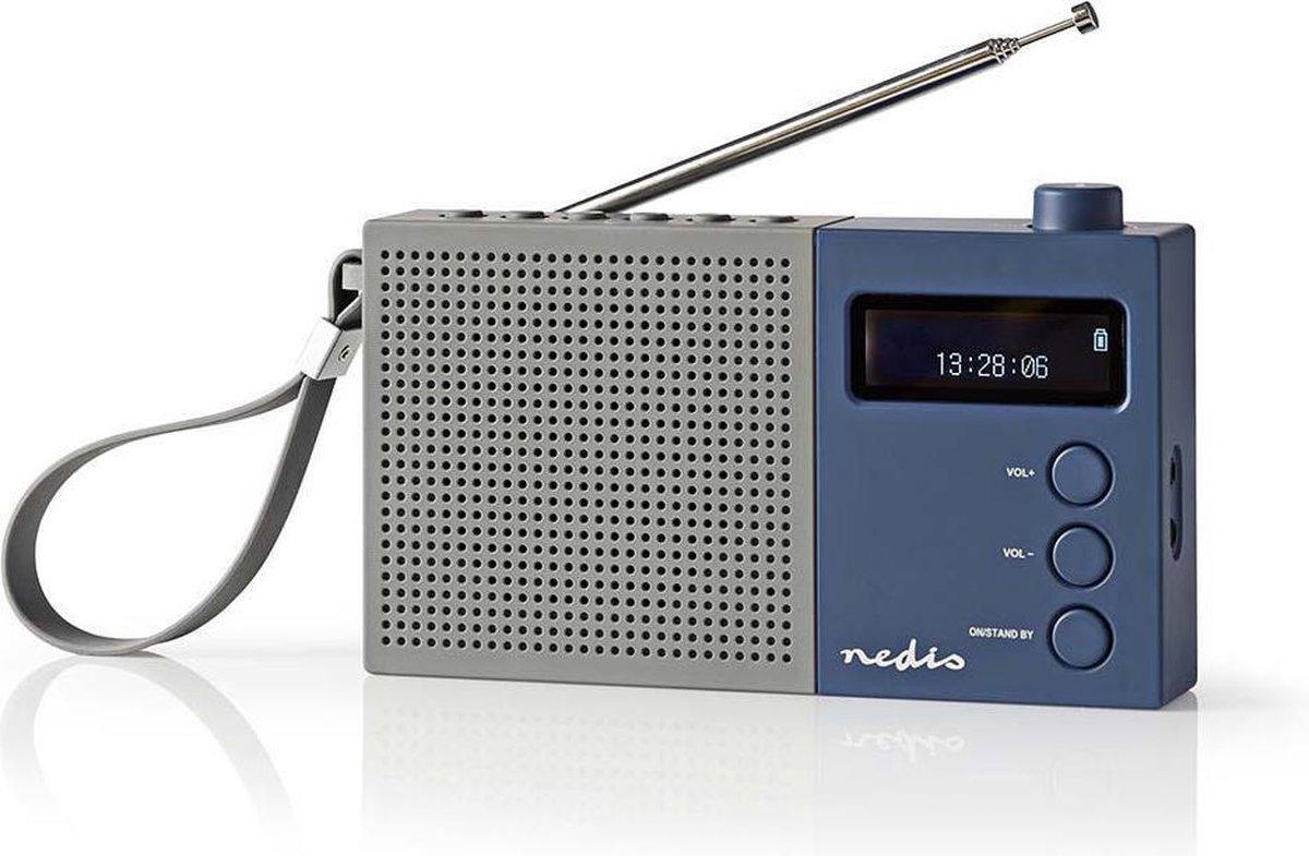 Nedis portable DAB+ radio met klok en wekker / grijs/blauw