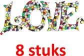 Kinderfeest pakket Mozaïek LOVE 8 stuks (mix 12 kleuren)