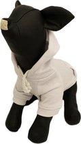 Hoodie sweater wit voor de hond - D-S (rug lengte 24 cm, borst omvang 34 cm, nek omvang 26 cm )