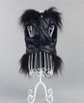 Bodywarmer met pluizige rand in de kleur zwart