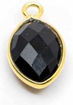 Edelsteen Hanger Zwarte Onyx 925 Zilver & Verguld (12 mm)
