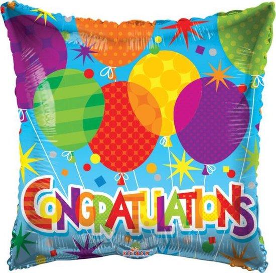 Helium Ballon Vierkant Congratulations Ballonnen 45cm leeg