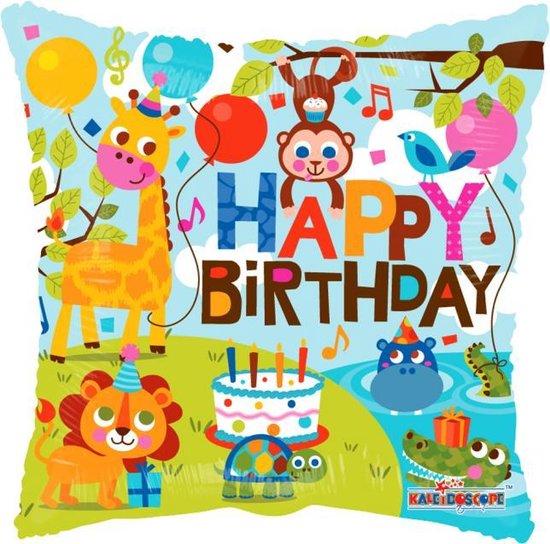 Helium Ballon Vierkant Happy Birthday Jungle 45cm leeg