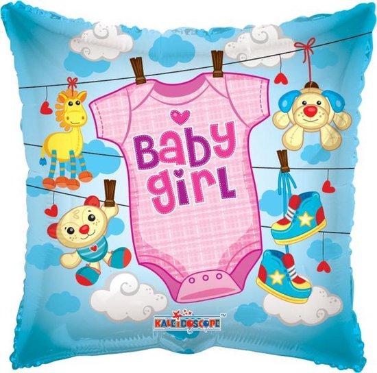 Helium Ballon Vierkant Geboorte Baby Girl 45cm leeg