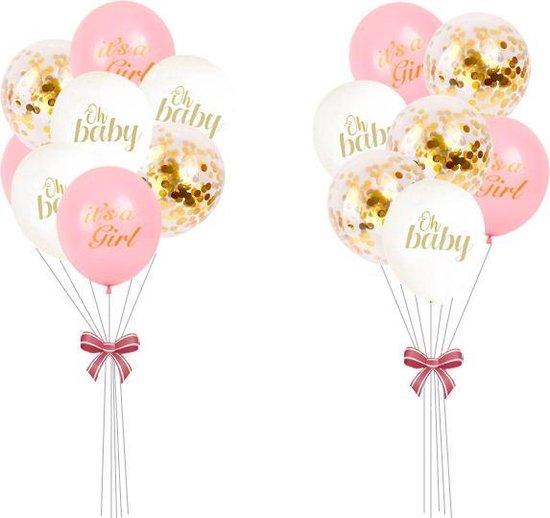 Geboorte Versiering ballonnen set Meisje Babyshower Decoratie roze it's a girl wit oh baby confetti Ballon Baby Shower