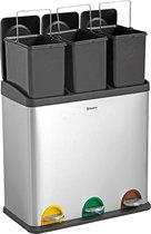 Homra STEPHS Afvalscheiding - Prullenbak - 60 Liter Inhoud (3 x 20) - Met 3 Vakken - RVS