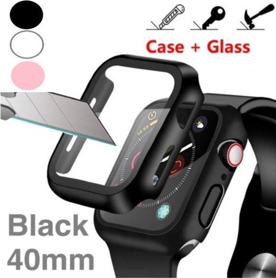 Saliseal Screenprotector + Hoesje - Apple Watch Series 4/5/6/SE 40 mm - Zwart