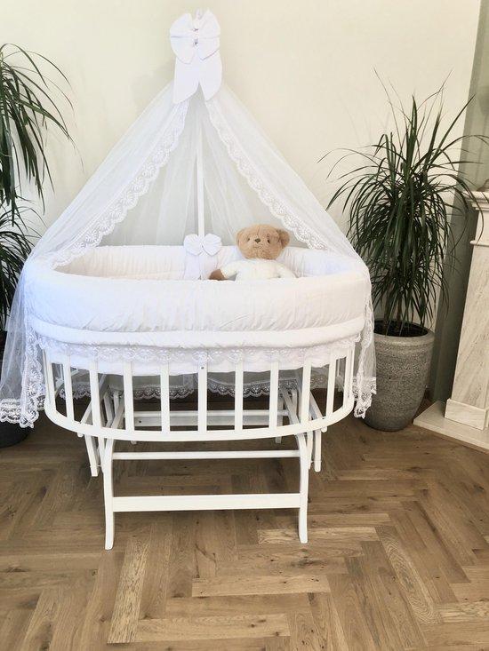 Product: BabyRace Ovaal Wiegje - Schommelwiegje - Wit, van het merk BabyRace