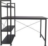 Bureau computertafel Stoer - 3 opbergplanken - industrieel modern - metaal hout - zwart