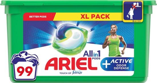 3x Ariel Wasmiddel Allin1 Pods+ Active Odour Defense 33 stuks